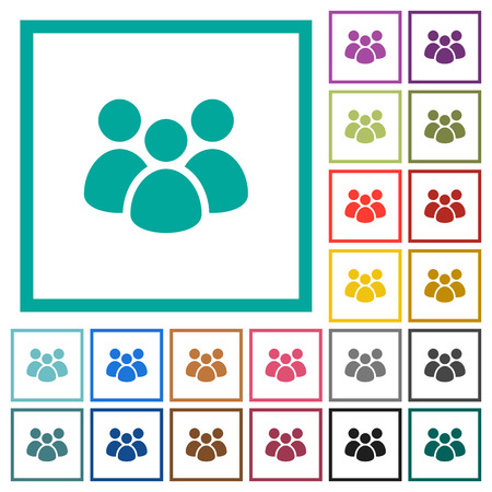 Team flat color icons with quadrant frames on white background