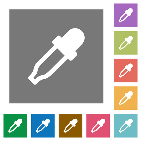 Color picker flat icons on simple color square backgrounds
