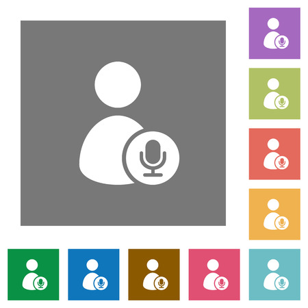 User broadcasting flat icons on simple color square backgrounds. Illustration