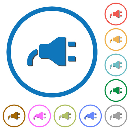 Power plug flat color vector icons with shadows in round outlines on white background
