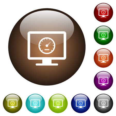 Weiße Ikonen des Computerbenchmarks auf runden Farbglastasten Vektorgrafik