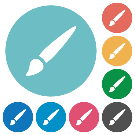 Brush flat white icons on round color backgrounds Illustration