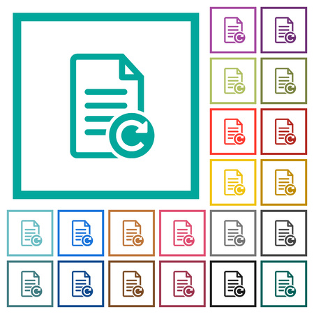 Redo document changes flat color icons with quadrant frames on white background