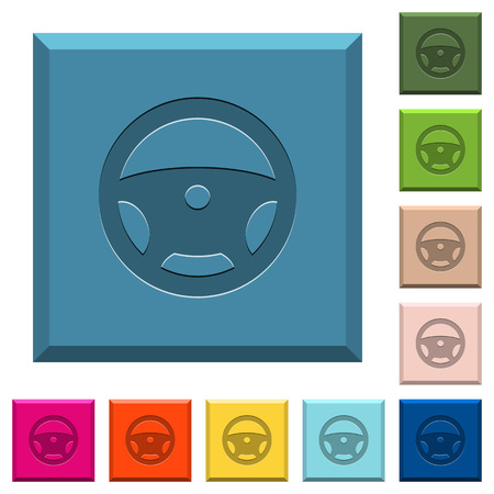 Steering wheel engraved icons on edged square buttons in various trendy colors