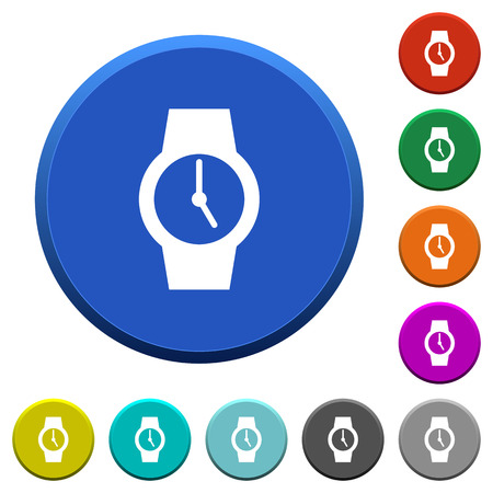 Watch round color beveled buttons with smooth surfaces and flat white icons