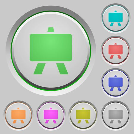Blackboard color icons on sunk push buttons