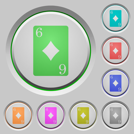 Six of diamonds card color icons on sunk push buttons