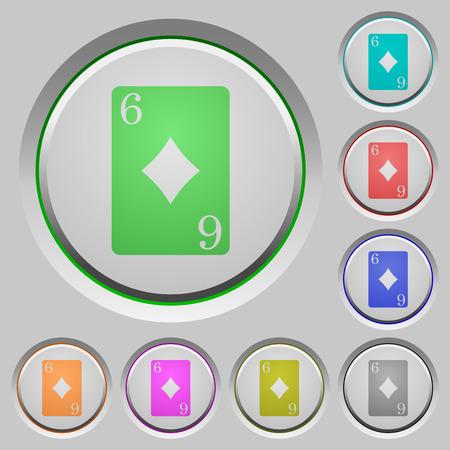 Seis dos ícones de cor cartão de diamantes em botões afundados Foto de archivo - 94187279