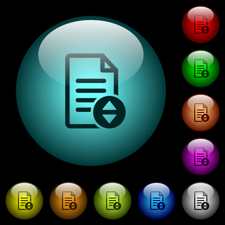 Document scrolling icons in color illuminated spherical glass buttons on black background. Can be used to black or dark templates