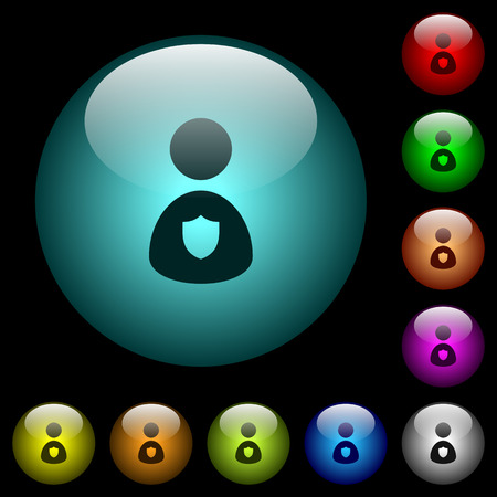Security guard icons in color illuminated spherical glass buttons on black background. Can be used to black or dark templates