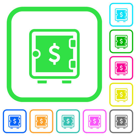 Dollar strong box vivid colored flat icons in curved borders on white background