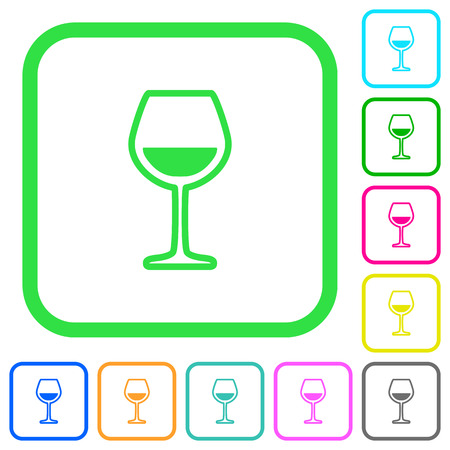 Glass of wine vivid colored flat icons in curved borders on white background