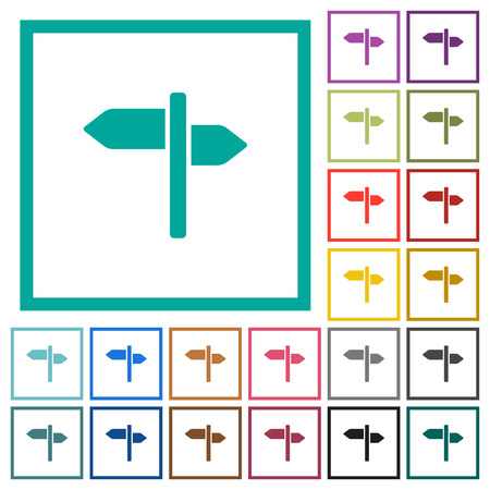 Signpost flat color icons with quadrant frames on white background Stock Illustratie