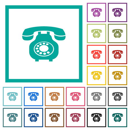 Vintage retro telephone flat color icons with quadrant frames on white background