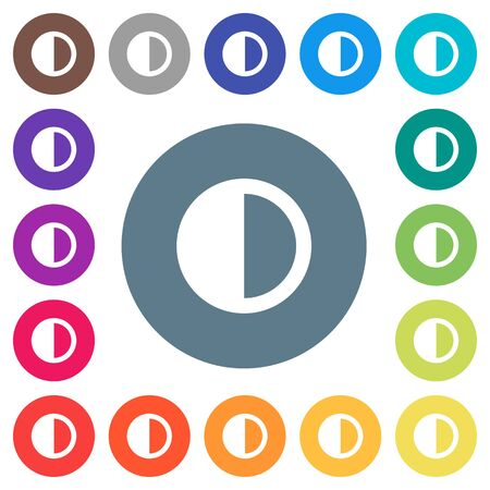 Contrast control flat white icons on round color backgrounds. 17 background color variations are included.