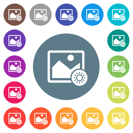 Adjust image brightness flat white icons on round color backgrounds. 17 background color variations are included.