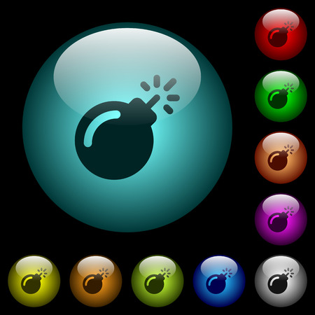 Bomb with sparkling fuse icons in color illuminated spherical glass buttons on black background. Can be used to black or dark templates