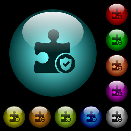 Plugin protected icons in color illuminated spherical glass buttons on black background. Can be used to black or dark templates
