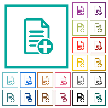 Add new document flat color icons with quadrant frames on white background