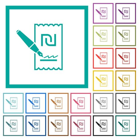 Signing new Shekel cheque flat color icons with quadrant frames on white background