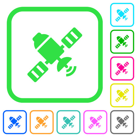 Satellite vivid colored flat icons in curved borders on white background