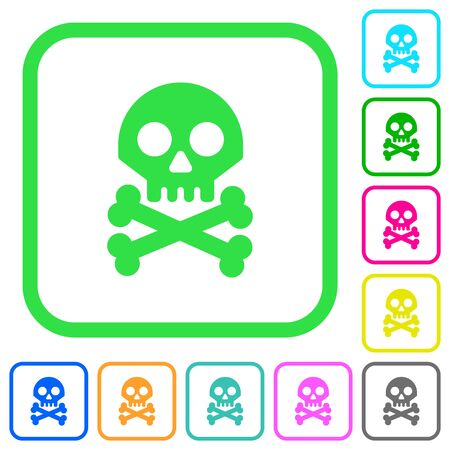 Skull with bones vivid colored flat icons in curved borders on white background Illustration