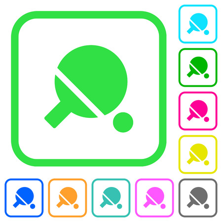 Table tennis vivid colored flat icons in curved borders on white background