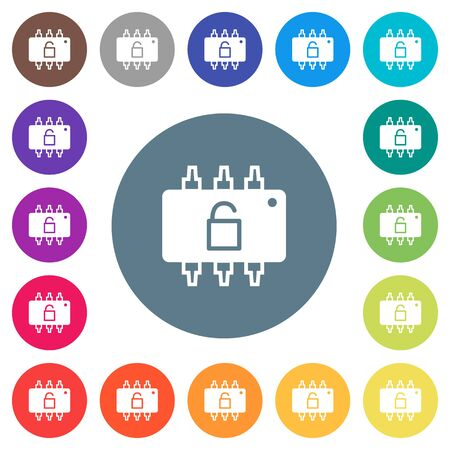 Hardware unlocked flat white icons on round color backgrounds. 17 background color variations are included. Illustration
