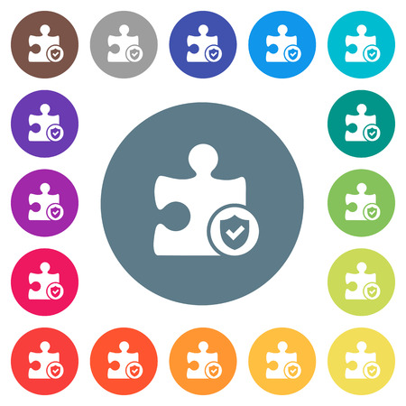 Plugin protected flat white icons on round color backgrounds. 17 background color variations are included. Ilustração