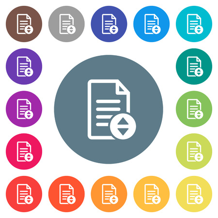 Document scrolling flat white icons on round color backgrounds. 17 background color variations are included.
