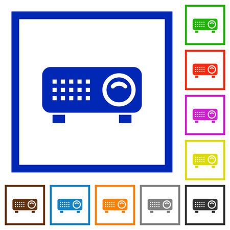 Video projector flat color icons in square frames on white background