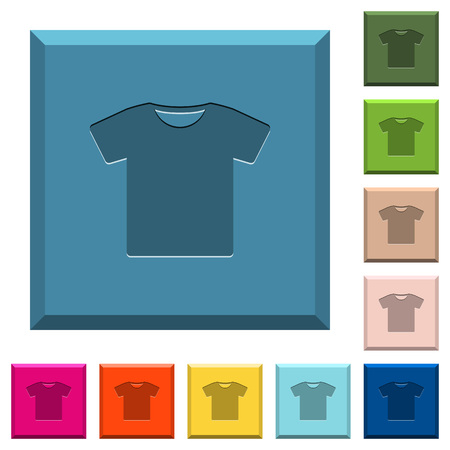 T-shirt engraved icons on edged square buttons in various trendy colors Çizim