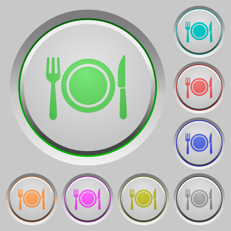 Dinner color icons on sunk push buttons Illustration