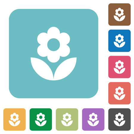 Flower white flat icons on color rounded square backgrounds.