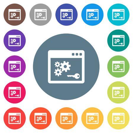 API key flat white icons on round colored backgrounds.