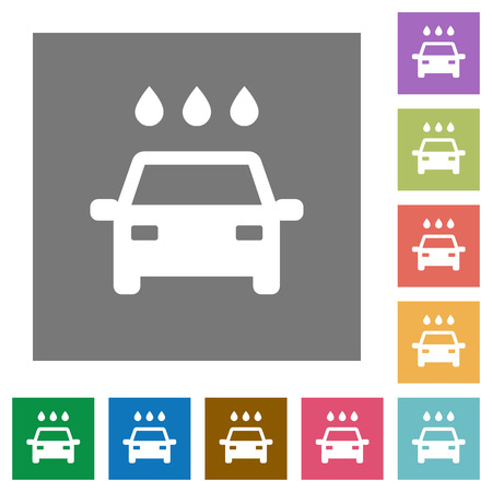 Car wash flat icons on simple color square backgrounds