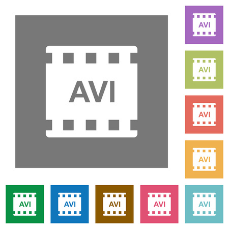 AVI movie format flat icons on simple gray square backgrounds