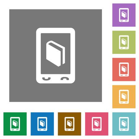 Mobiele woordenboek vlakke pictogrammen op eenvoudige kleuren vierkante achtergronden Stock Illustratie