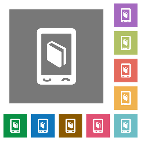 Mobile dictionary flat icons on simple color square backgrounds Ilustrace