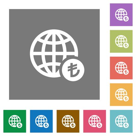Online Lira payment flat icons on simple color square backgrounds