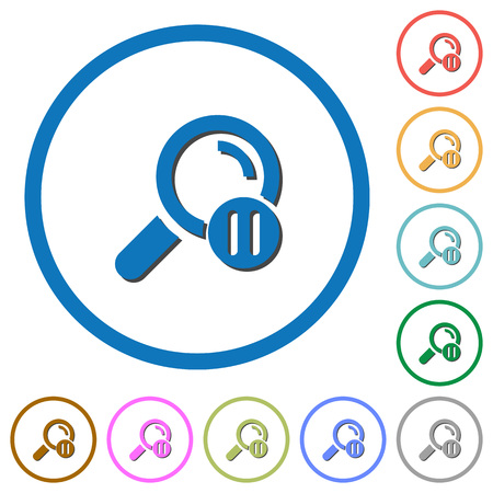 Pause search flat color vector icons with shadows in round outlines on white background Illustration