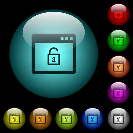 Unlock application icons in color illuminated spherical glass buttons on black background. Can be used to black or dark templates Illusztráció