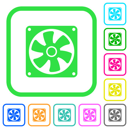 Computer fan vivid colored flat icons in curved borders on white background Ilustrace