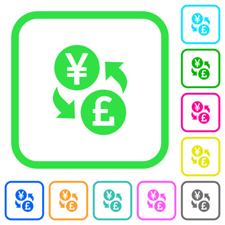 Yen Pound money exchange vivid colored flat icons in curved borders on white background