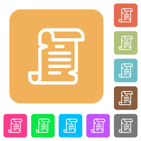 Paper scroll flat icons on rounded square vivid color backgrounds.