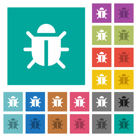 Computer bug multi colored flat icons on plain square backgrounds. Included white and darker icon variations for hover or active effects.