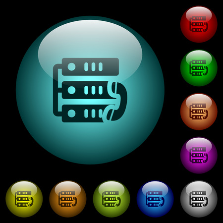 VoIP call icons in color illuminated spherical glass buttons on black background. Can be used to black or dark templates