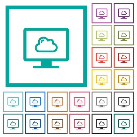 Cloud computing flat color icons with quadrant frames on white background