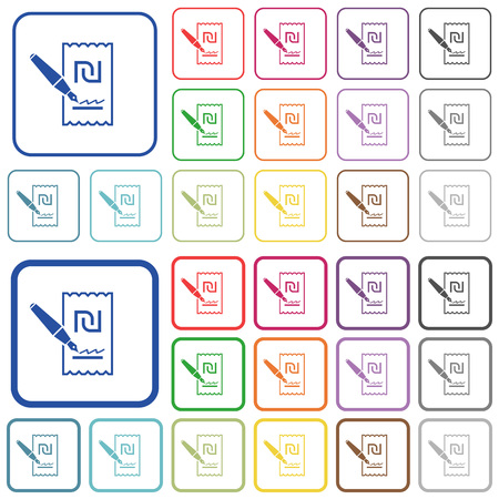 Signing new Shekel cheque color flat icons in rounded square frames. Thin and thick versions included.