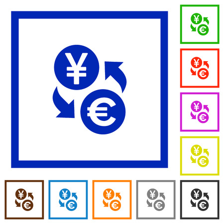 Yen Euro money exchange flat color icons in square frames on white background